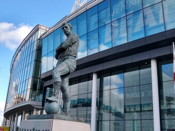 Wembley - Bobby Moore statue taken at the Women's FA Cup Final 2019