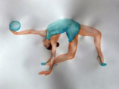 disegno ad acquarello ginnasta con palla azzurra