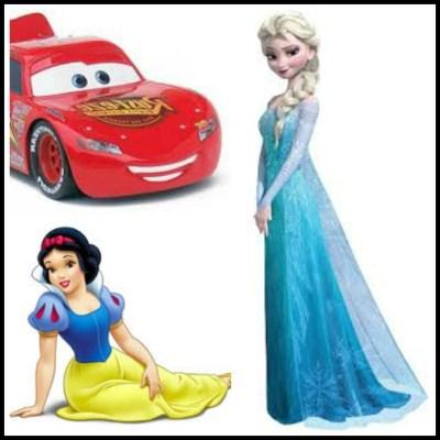 Cars saetta mc queen, Elsa Frozen, Snowwhite