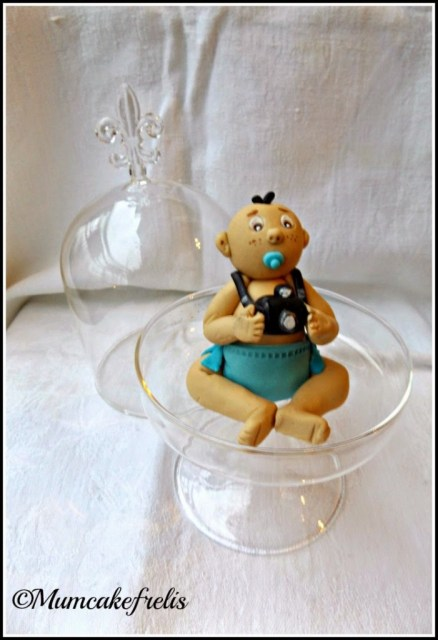 handmade edible baby boy cake topper