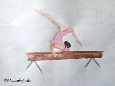 ginnastica artistica sulla trave disegno dipinto a mano mumcakefrelis