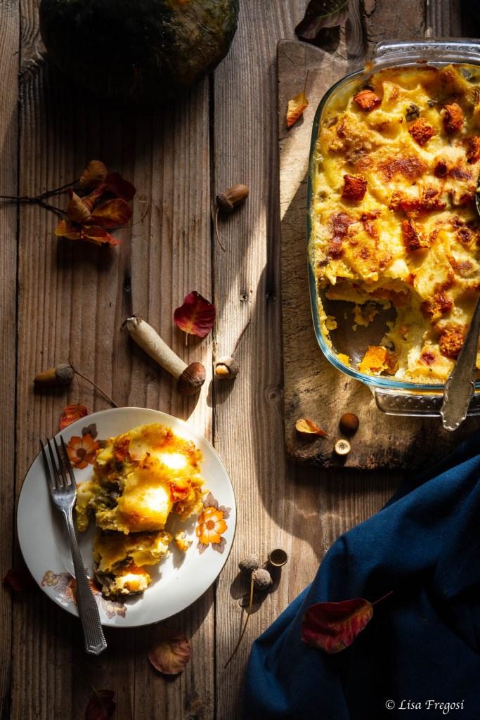 ricetta della pasta al forno con zucca, funghi e taleggio