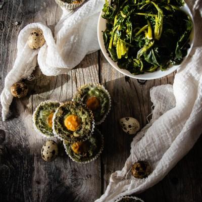Sformati di broccolo fiolaro e uova di quaglia