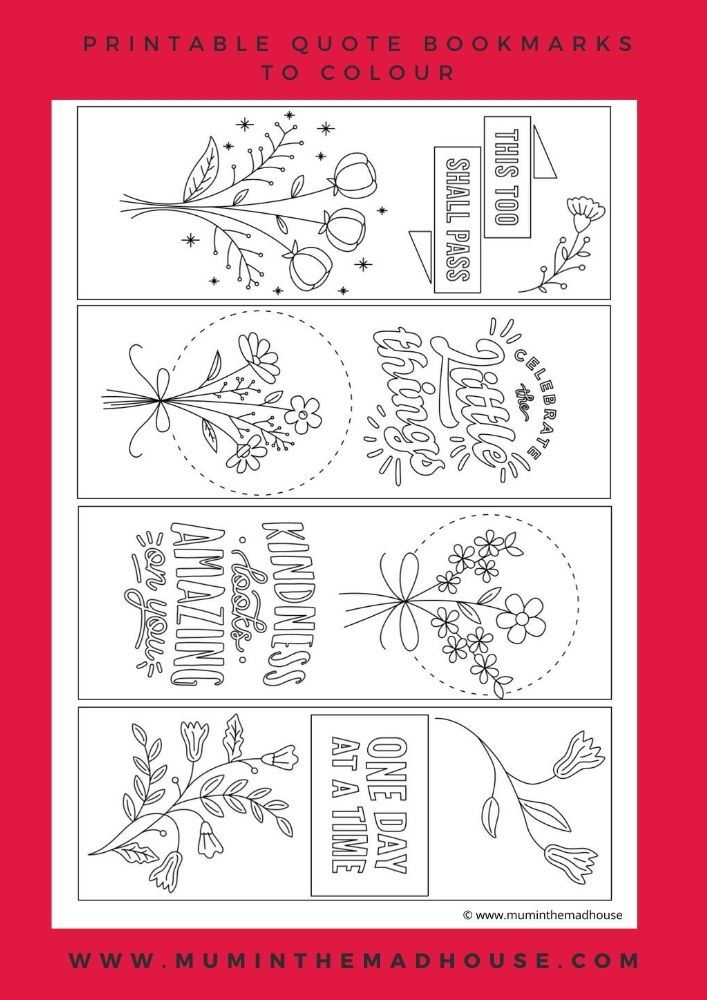 This Set of Four Colouring Bookmarks with Quotes, are perfect for book lovers.  Four printable quote bookmarks to colour and enjoy.