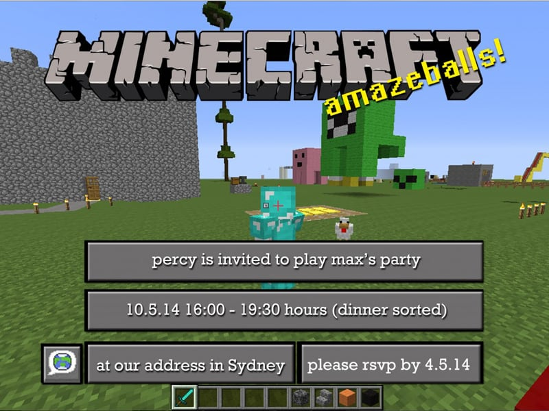 free minecraft party invitations to