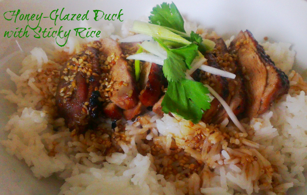 honey-glazed duck with sticky rice duck recipe glazed duck chinese duck
