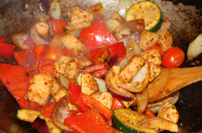 Spanish chicken with Mediterranean vegetables
