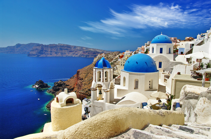 Blue highlights Santorini
