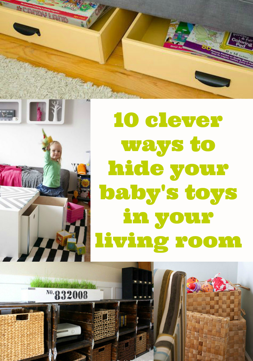 10 ways to hide baby stoys in your living room, toy storage in living room, hide toys