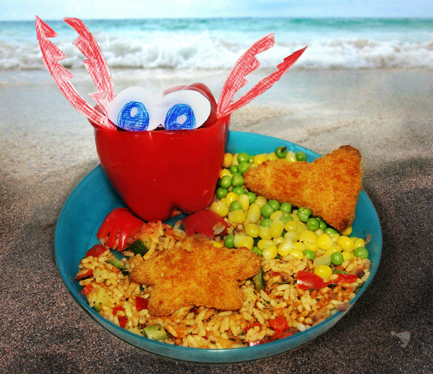 Birds Eye challenge red pepper crab with chicken nugget star fish and fish