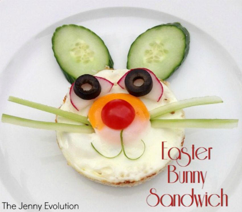 Easter Bunny sandwich, fun food for kids, parenting pin it party