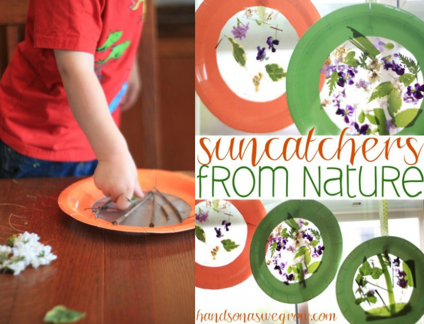 flower sun catchers, nature crafts for summer