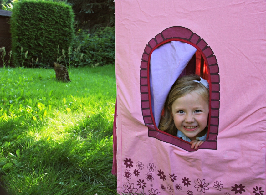 summer fun in her princess castle tent
