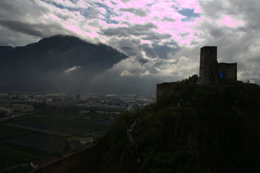 Blick auf Bozen von Schloss Sigmundskron, View over Bolzano from Firmian Castle, Messner Mountain Museum