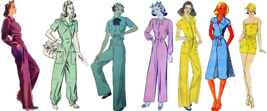 history of jumpsuit, romper, iconic fashion items