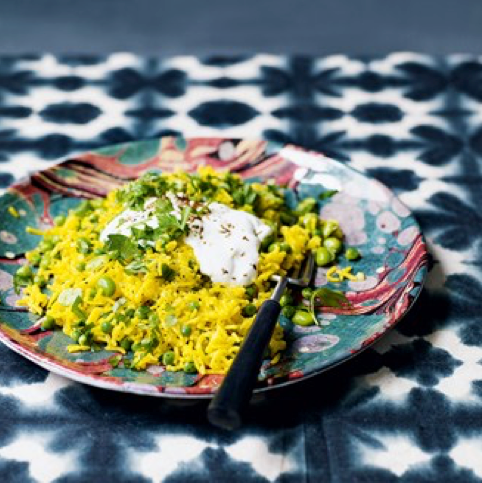 takeaway recipes Saffron and Broad Bean Pilaf With Yoghurt