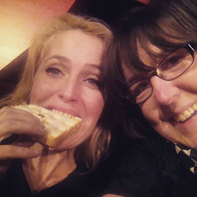 Sharing a toastie with Gillian Anderson