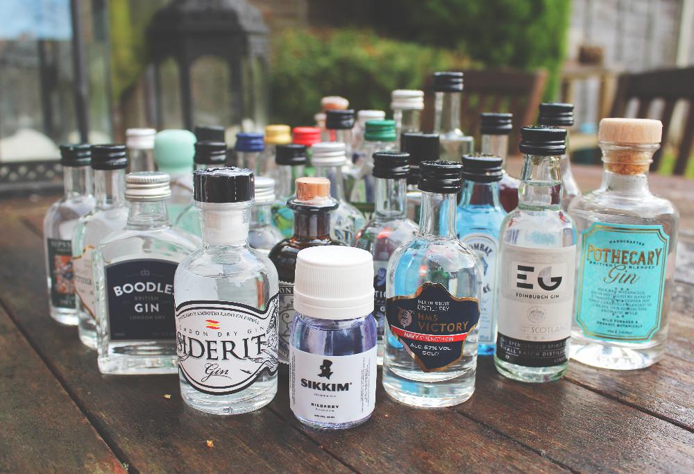 Miniature gin bottles advent calendar