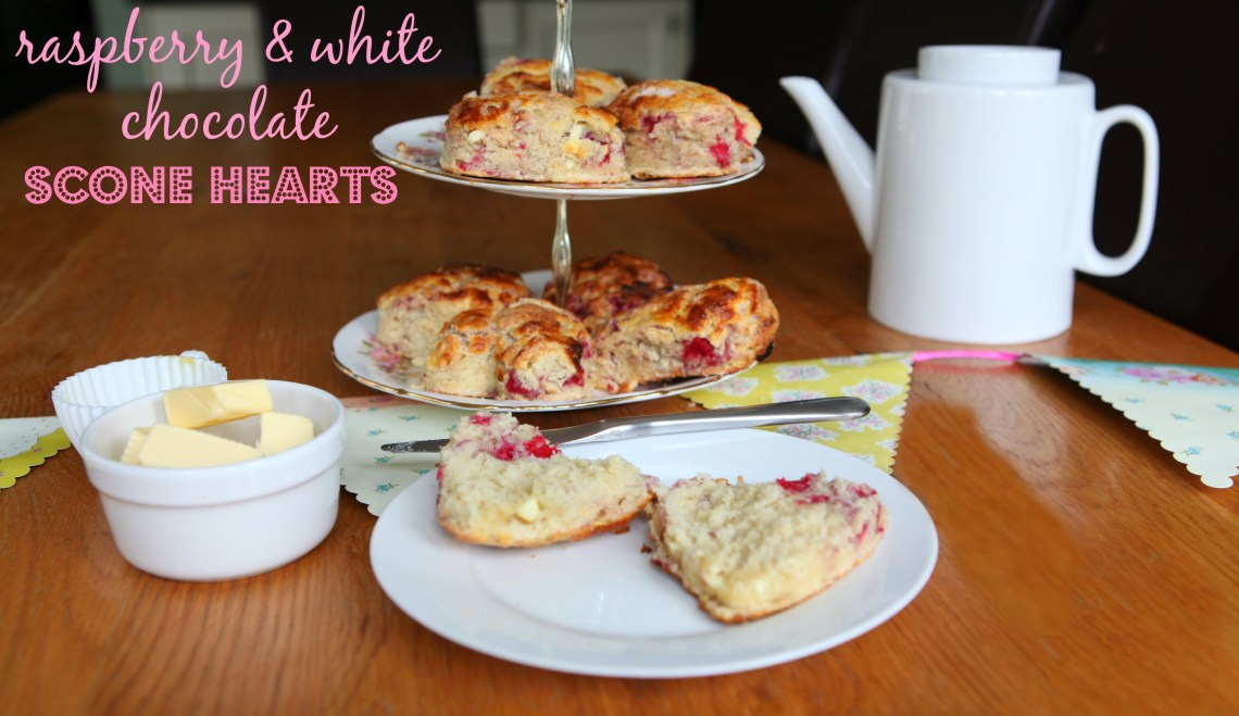 Raspberry & White Chocolate Scone Hearts
