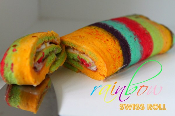 Rainbow Swiss Roll (#Greatbloggersbakeoff2014 #1 Cake)