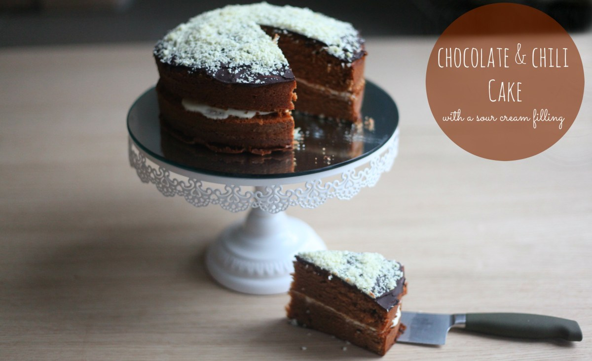 Nice Cake Recipes Uk: Chocolate & Chili Cake With A Sour Cream Filling