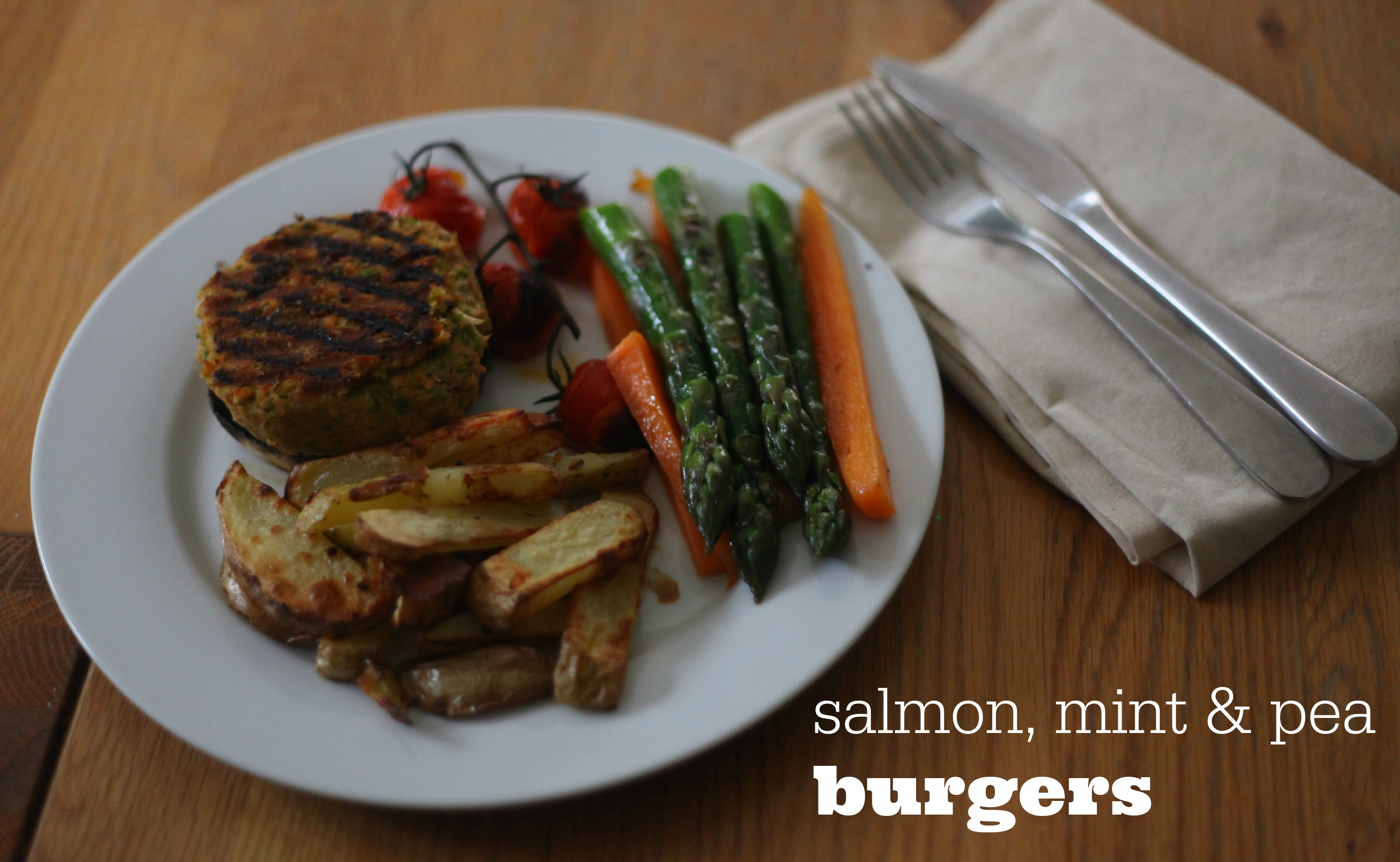 salmon,mint and pea burgers