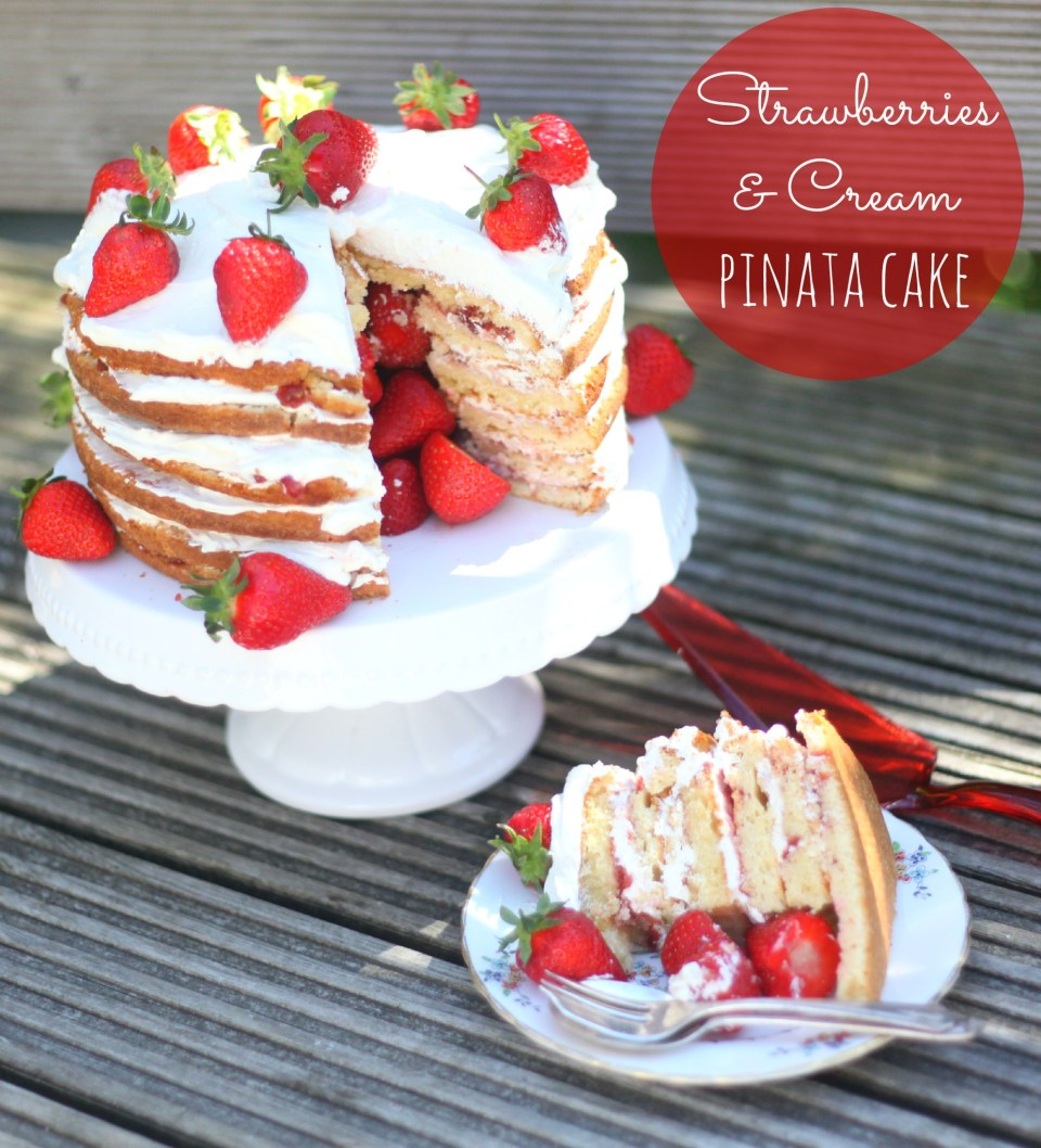 Strawberries & Cream Pinata Cake