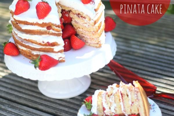Strawberries & Cream Pinata Cake
