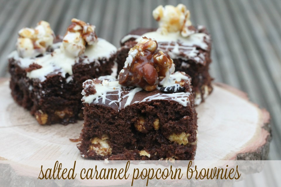 Salted Caramel Popcorn Brownies