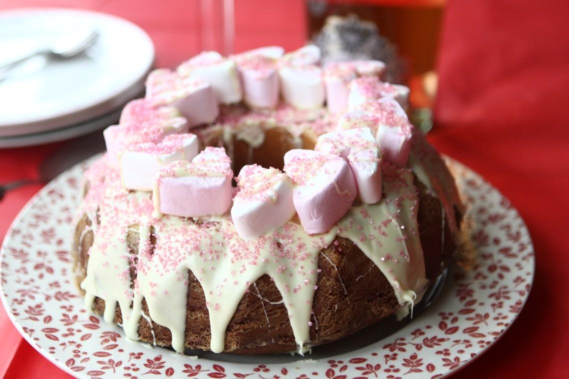 Strawberry and White Chocolate Surprise Cake