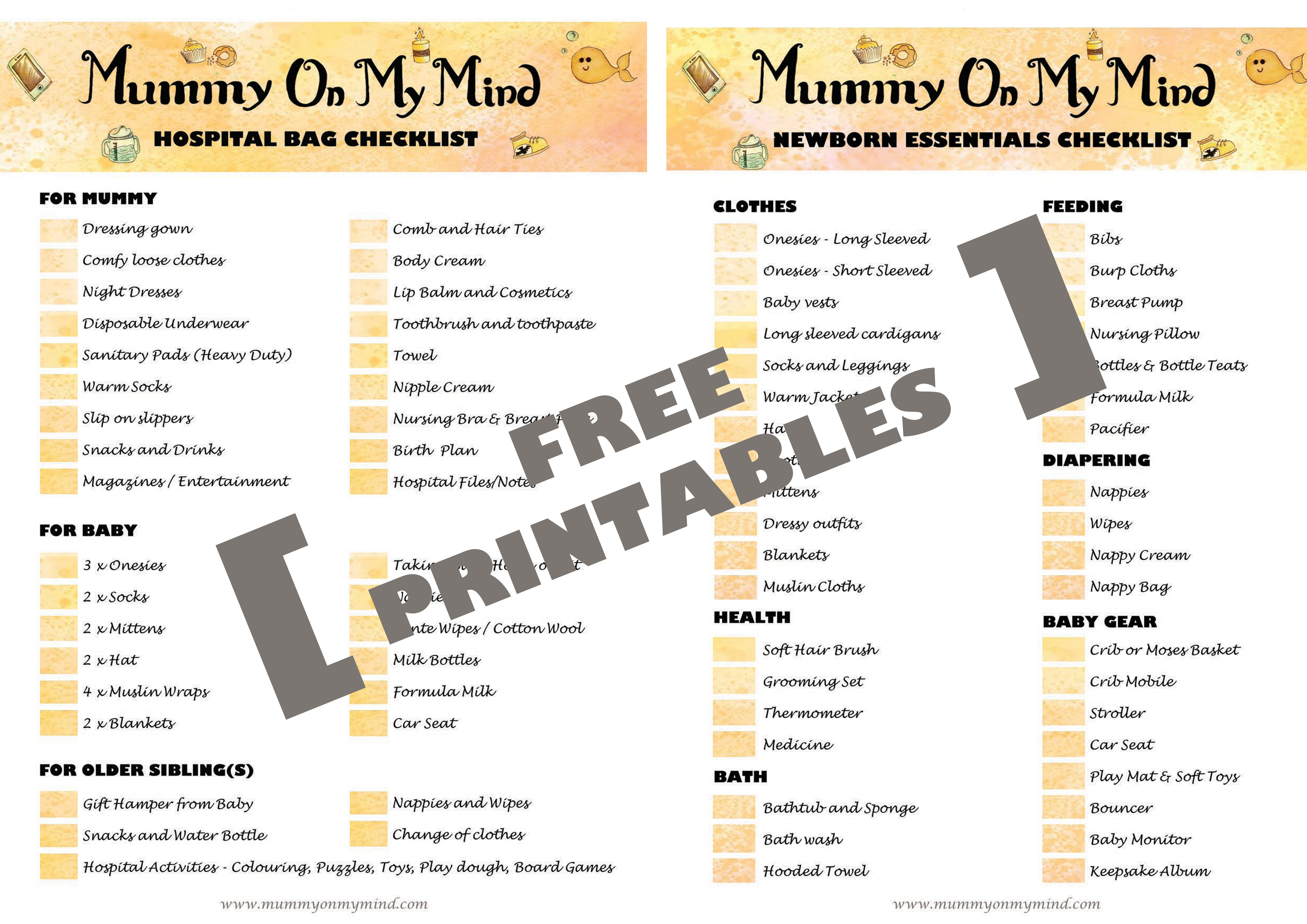 graphic about Baby Checklists Printable known as Medical center Bag and Toddler Fundamental principles Checklists - Free of charge