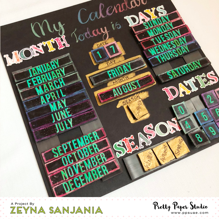 Magnetic Calendar Stickers and WaterColour Zeyna 09