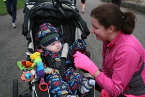 parkrun with the baby jogger when my son was 8 months old