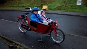 My son and daughter on our bakfiets cargo bike