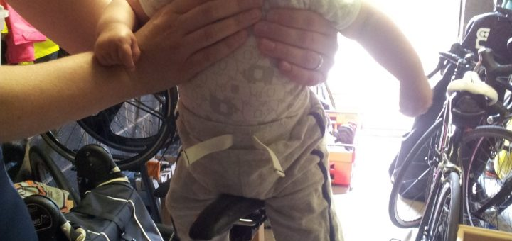 baby on the turbo trainer