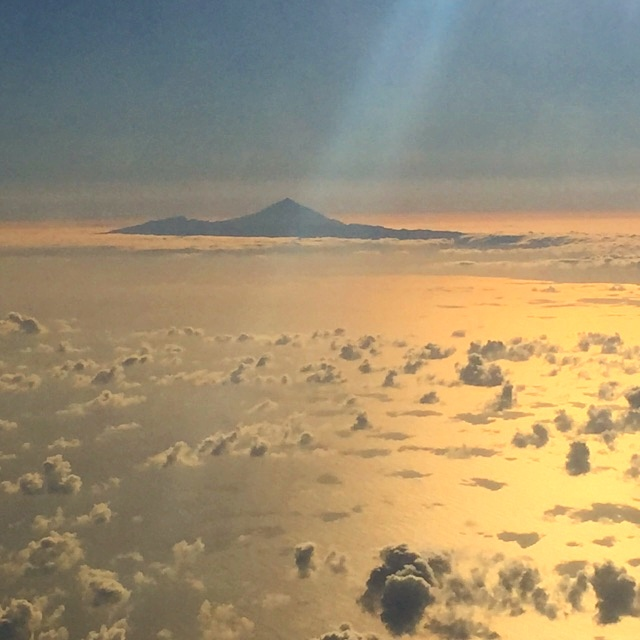 View from the plane to Gran Canaria at sunset