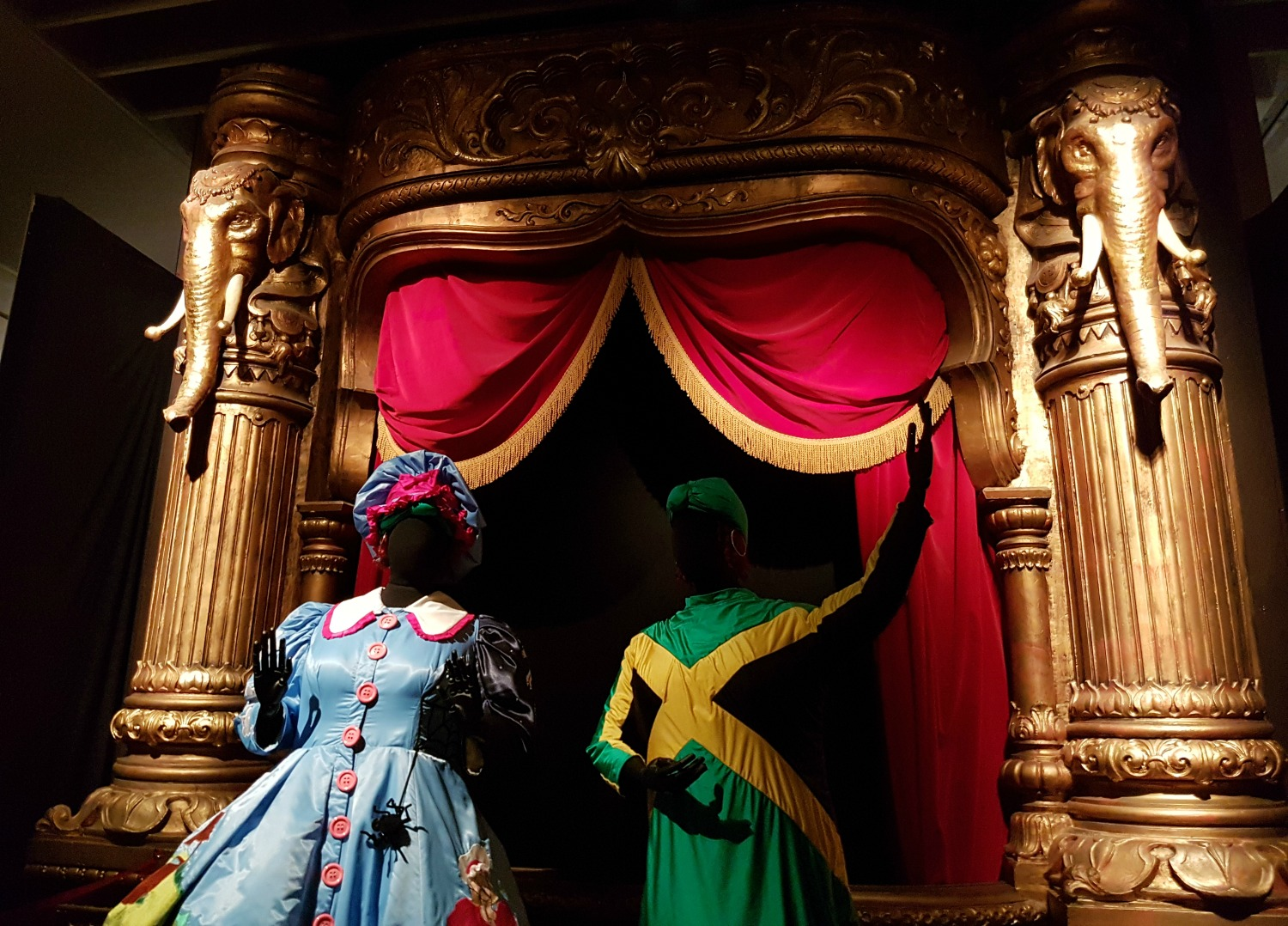 A stage set from Mother Goose with two costumes in the V&A theatre collection - my review of our visit, and why the Victoria and Albert museum with kids is a great idea