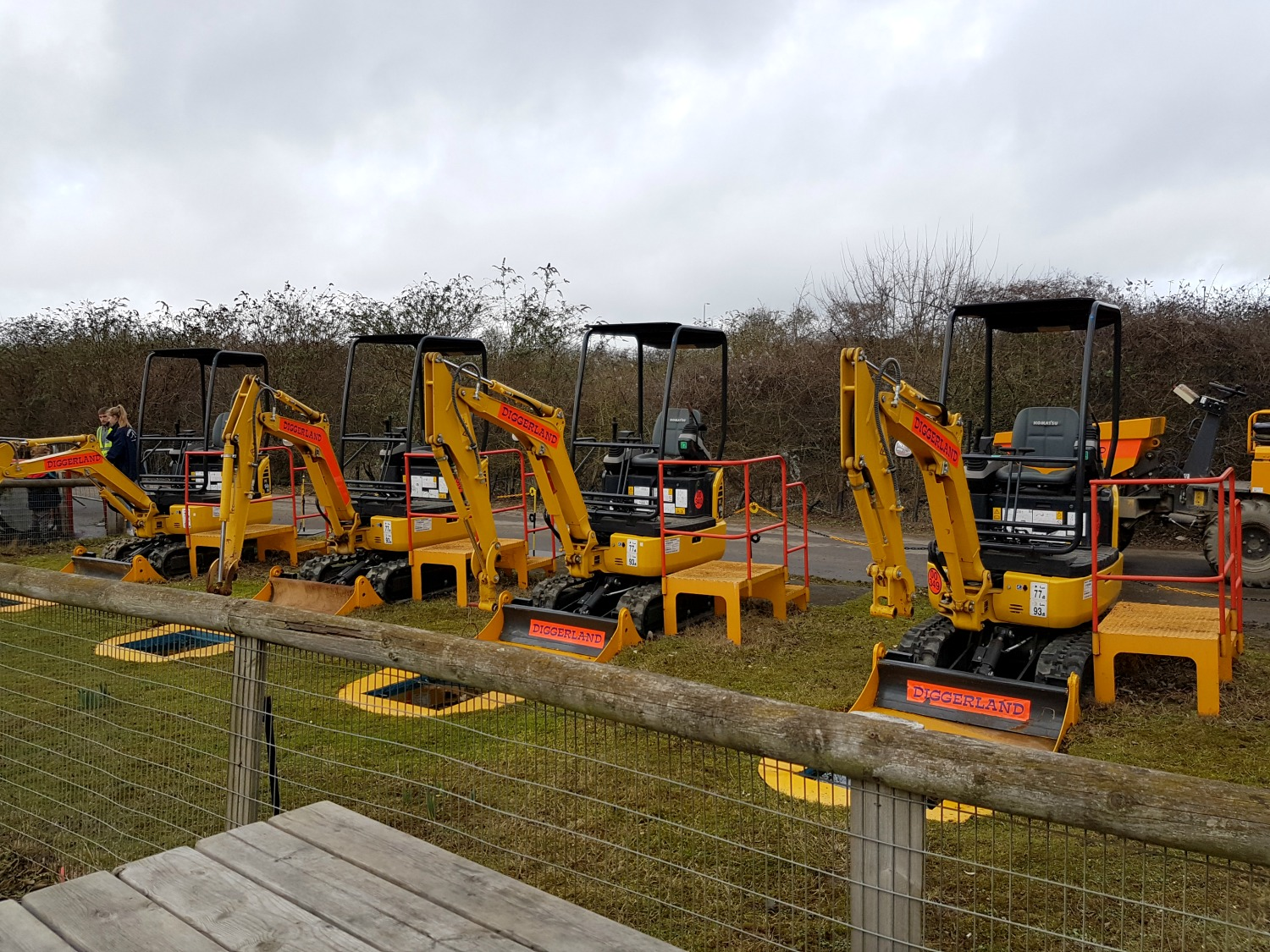 A line of diggers at Diggerland Kent - one of the attractions on this family day out