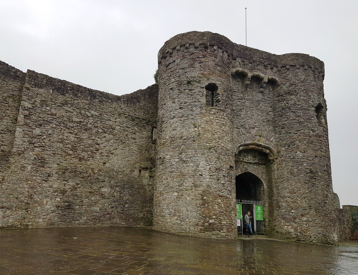 Part of the ruins of Carmarthen Castle in Wales - on our journey to discover Welsh legends