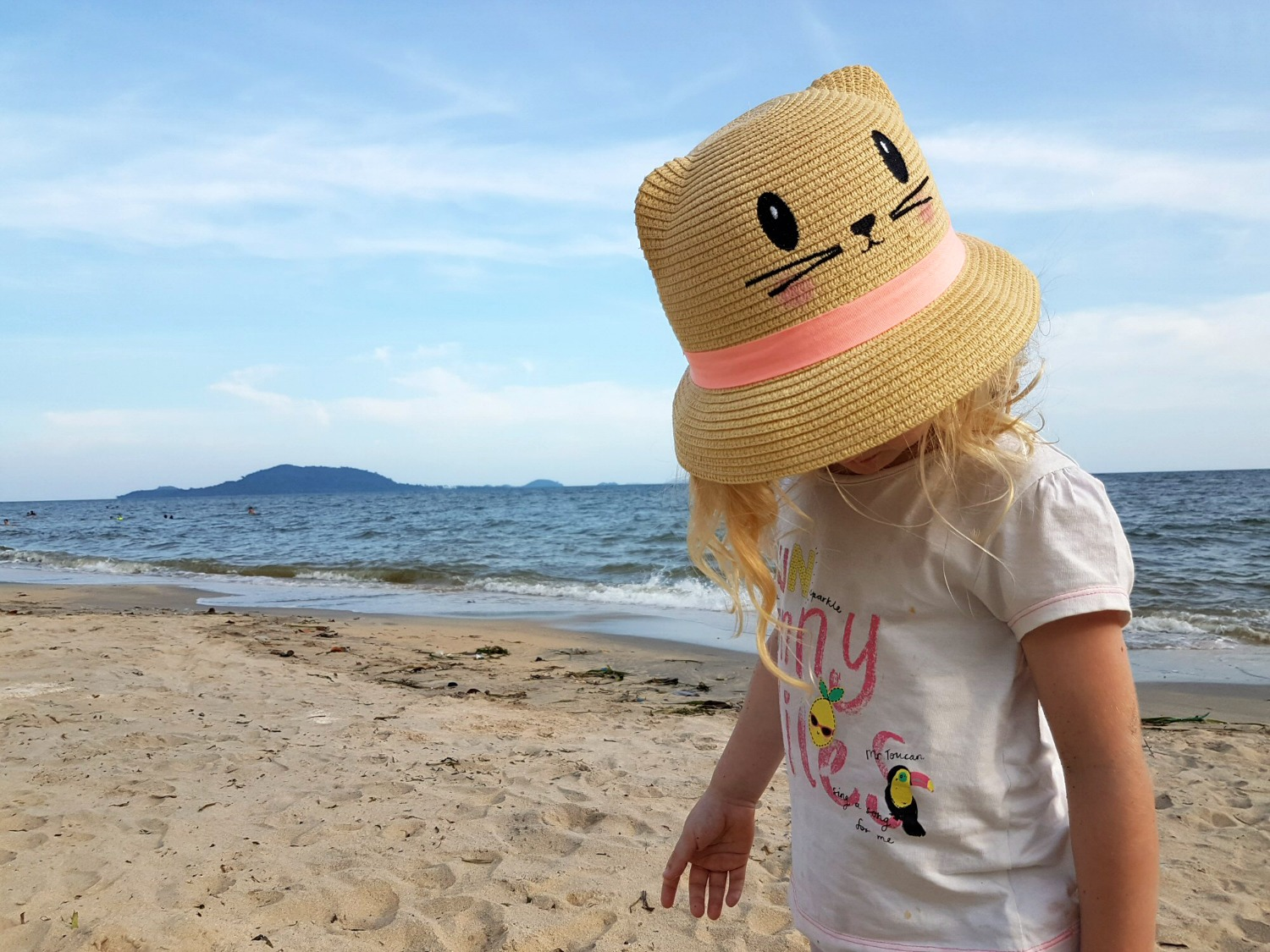 My daughter by the beach in Kep - 12 reasons to visit Cambodia with kids