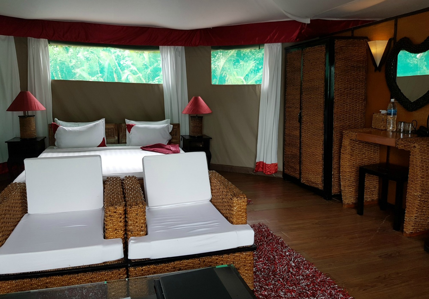 Bedroom in the floating tents at Four Rivers Floating Lodge - discovering Cambodia's Cardamom Mountains with kids