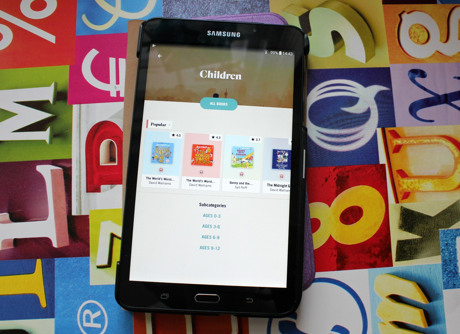 Tablet showing children's book options on the BookBeat app - my BookBeat review and secret weapon for travelling with kids