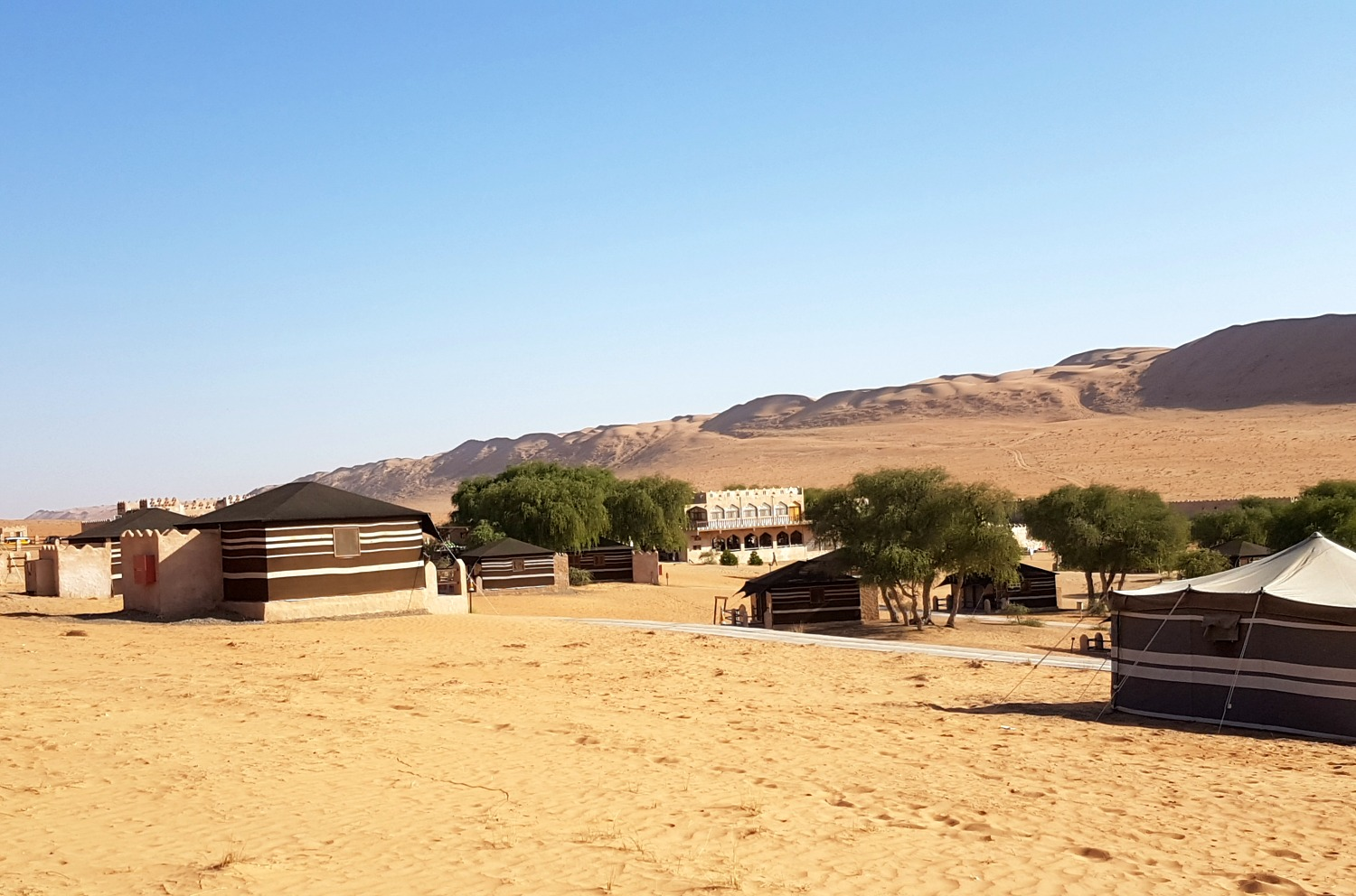 A view of tents at the 1000 Nights Camp in Oman against a blue sky - our stay in Wahiba Sands