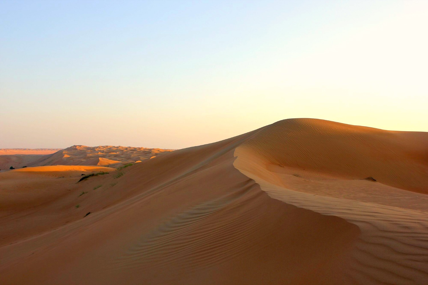 Sun setting over the orange dunes stretching into the distance at Wahiba Sands in Oman - my nine reasons to visit Oman with kids