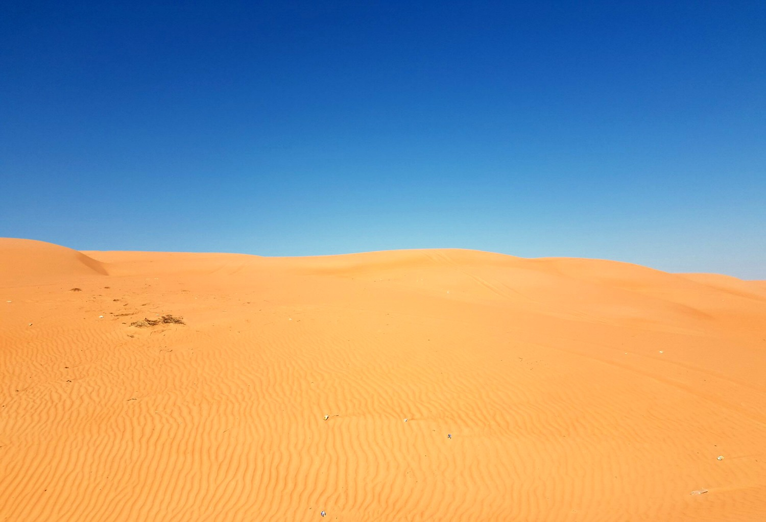 Bright orange sand against a bright blue sky at Wahiba Sands in Oman - my nine reasons to visit Oman with kids