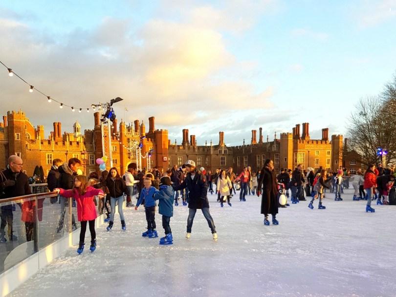 Christmas Ice Skating.Hampton Court Palace Ice Rink With Kids