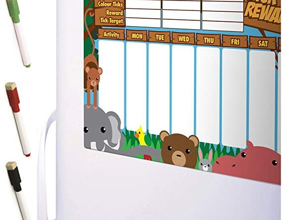Magnetic REWARD CHART Jungle Animals FRIDGE BOARD Engaging 7 Day Colourful Tick List For Refrigerators / Space for up to 3 Children /