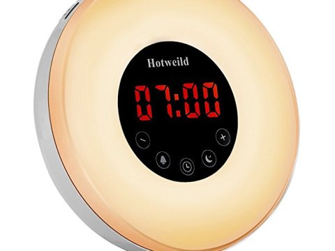 Alarm clock, Hotweild Sunrise & Sunset Simulator USB LED Digital Clock Wake up Light [Luxury Edition] with FM Radio Touch Control 7 Colors and 6 Nature Sounds Night Light Table Lamp