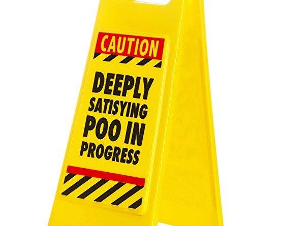 """Satisfying Poo Warning Sign, Plastic, Yellow"