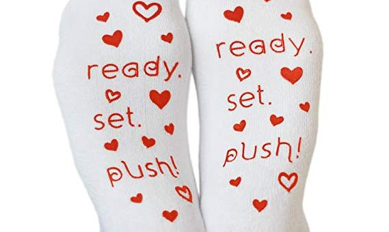 Labor and Delivery Inspirational Fun Non Skid Push Socks for Maternity